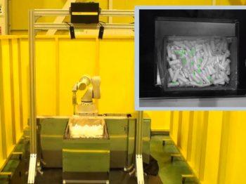 ロボット自動化事例:化粧品容器のバラ積み取り出し
